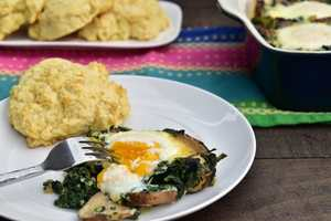 Baked Spinach and Eggs with Biscuit- Smitten Kitchen