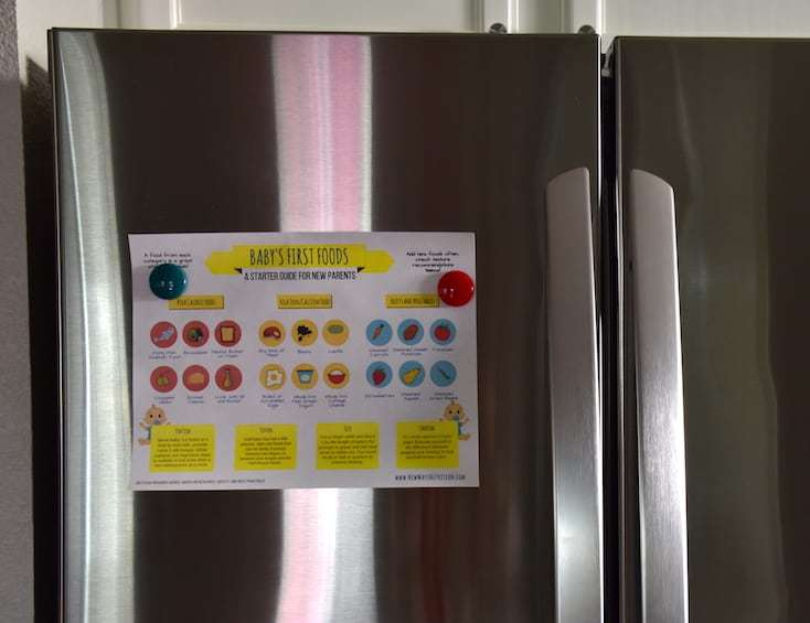 A handout for your fridge to help you remember how to balance your baby's meals of first foods