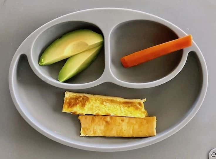 First foods- A balanced meal with eggs, avocados, and steamed carrots