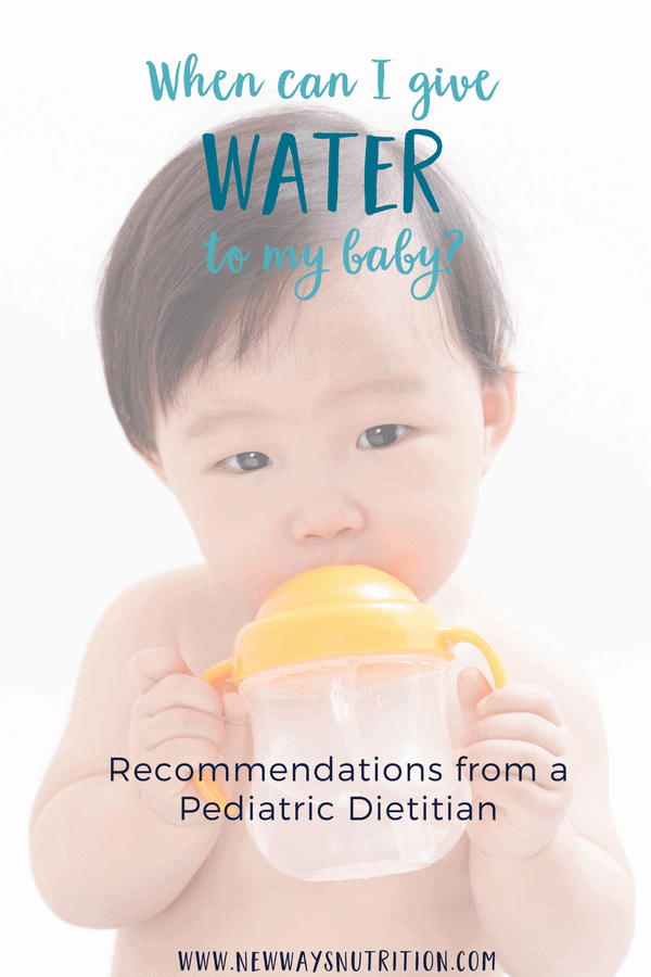 Should you be giving your baby water? There are lots of anecdotal recommendations out there. Click through to find out the official recommendations to help you make the best decision for your baby. #babynutrition #blw #babyledweaning #drinksforbaby