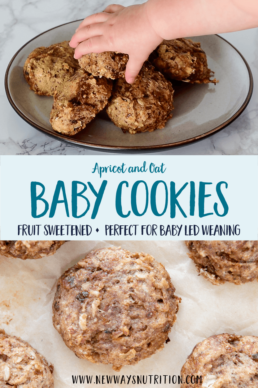 These delicious baby friendly cookies are full of healthy ingredients and perfect healthy baby cookies for baby led weaning. You'll love them too! They are fruit sweetened cookies, with no added sweeteners, and a great texture. Dried apricots add a flavor boost as well as are iron rich. A great recipe for your freezer stash, and a perfect diaper bag cookie and travel snack for you and your baby. #babysnacks #travelsnacks #healthycookies #blw #babyledweaning