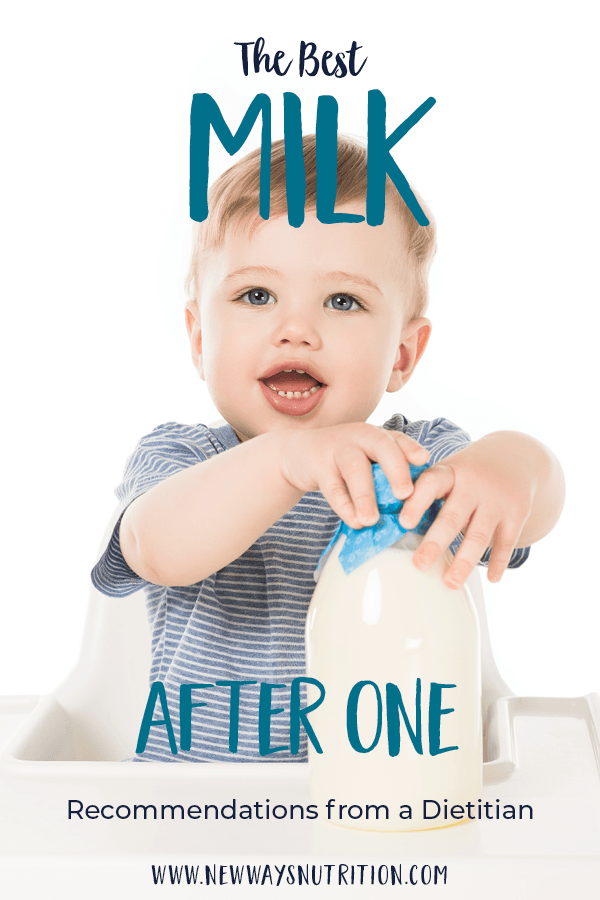 Do you know what the best milk for babies after 1 is? Should you transition to cow's milk for your toddler, stay with breastfeeding, or keep your baby on formula? Advice from a pediatric dietitian about what the best milk for babies after 1 is. #childnutrition #milkforbabies