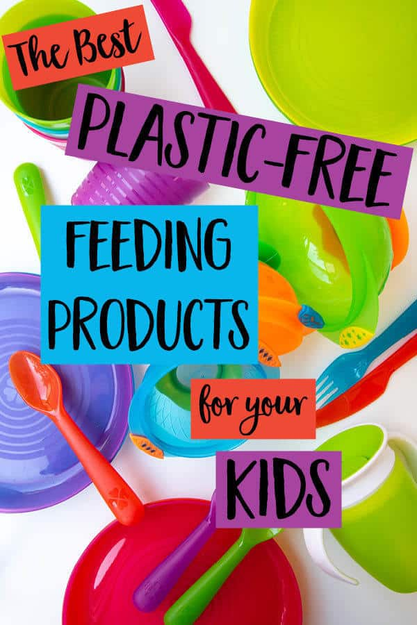 How much plastic is in your cupboard? Do you primarily use plastic-free products for feeding your kids? The latest recommendations are to avoid plastics in things that contact foods, including baby bottles and dishes! Click through for the best plastic-free kid dishes, plastic-free kitchen items, and lots of recommendations on the best stainless steel dishes and items for kids to help ease your transition to a plastic-free kitchen. #plasticfreedishes #plasticfreekitchen