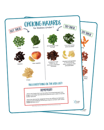 Learn about the top choking hazards for kids under 4, as well as what the top choking hazards for baby led weaning, and infant choking in general, are. Did you know that peanut butter can be a choking hazard? Find out what else makes the list, plus how to serve the top choking hazards safely to your kids and babies! #chokinghazards #dietitian #kidchokinghazards