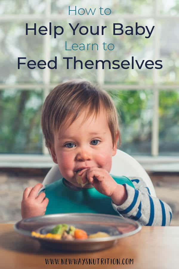How do you help your baby learn to feed themselves? Or maybe you're focused on getting more veggies into your kids or your baby? Or maybe you want to find out how to teach your baby to use a spoon or fork? While there are many methods you can try, here is an easy, hands off parenting hack to help you teach your baby how to feed themselves. It also works wonders for teaching older kids how to act at the table! #selffeeding #blw #parentinghack #dietitian