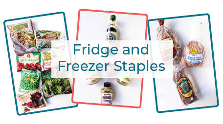 Having the right fridge and freezer staples can make or break a last minute meal. Learn tried and true dietitian secrets for always having the staples you need to make healthy family meals. Need to know what to do when you haven't meal planned? Click through for the staples you shouldn't be without! #familymealideas #healthymeals #mealtimetips