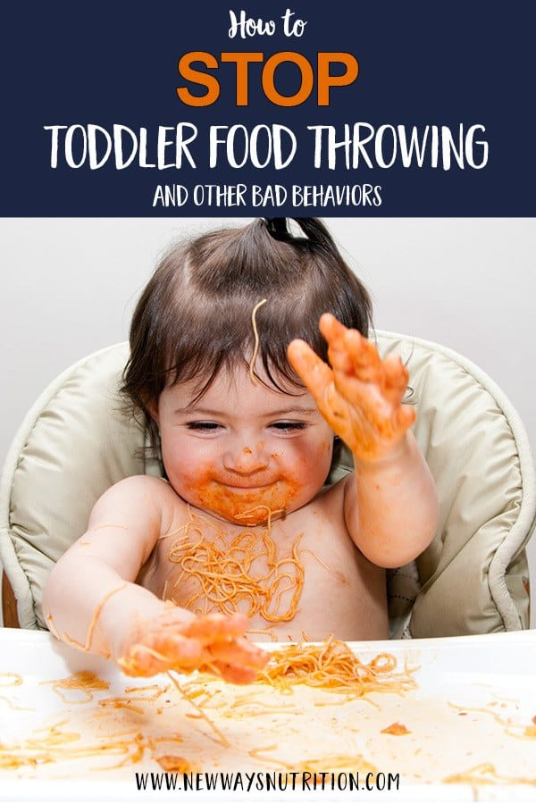 Toddler food throwing can be a big problem! Whether your toddler is throwing food, or throwing their plates and cups, learn strategies from a feeding specialist to help you nip them in the bud! With tips for babies and toddlers, as well as specific help for lots of different situations, click through for details and to help get meals back on track. #foodthrowing #toddlermeals