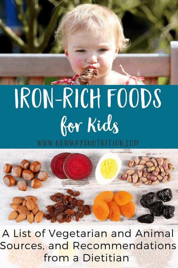 Iron status and anemia can be a great source of concern for parents with children of all ages. Here is a list of iron rich foods for toddlers and babies, including vegetarian and animal sources. It can be used for kids of all ages and parents as well! #babynutrition #nutritionforkids #infantnutrition