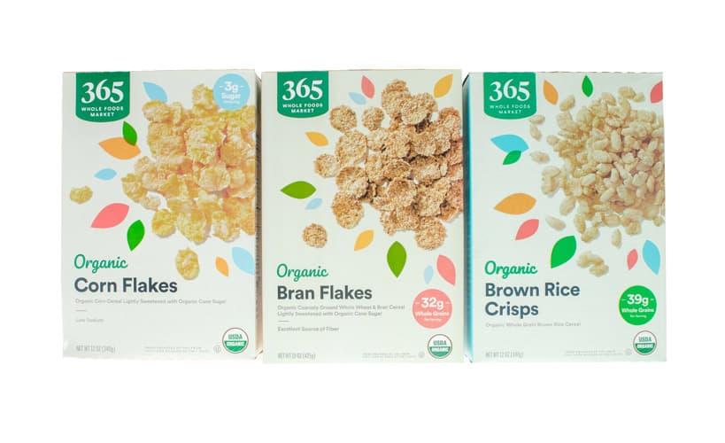 Corn Flakes, Bran Flakes, Brown Rice Crisps