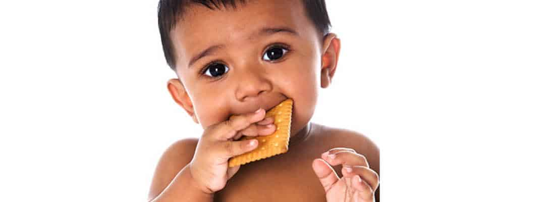 Baby eating a snack