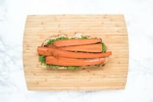 Open Faced Roasted Carrot and Kale Pesto Grilled Cheese Sandwich
