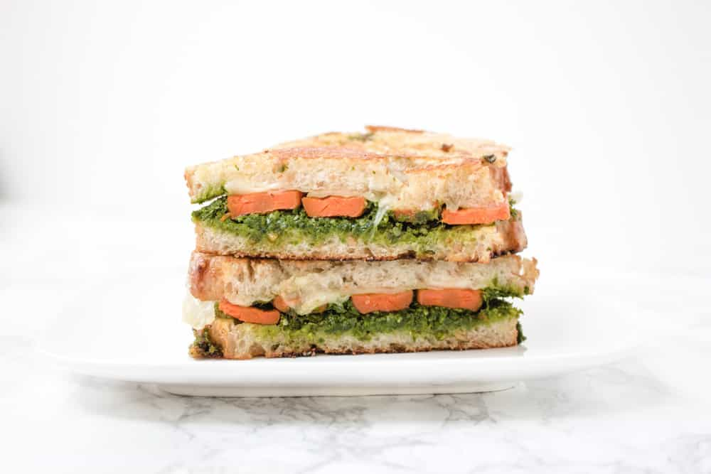 Roasted Carrot and Kale Pesto Grilled Cheese Sandwich
